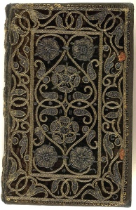 A beautiful 16th century velvet  book cover with goldwork embroidery.  Visit Aria Nadii on Flickr to see other examples: https://www.flickr.com/photos/wildmuse/sets/72157623038723753